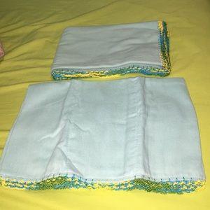 Other - Handmade blue bib and blanket set